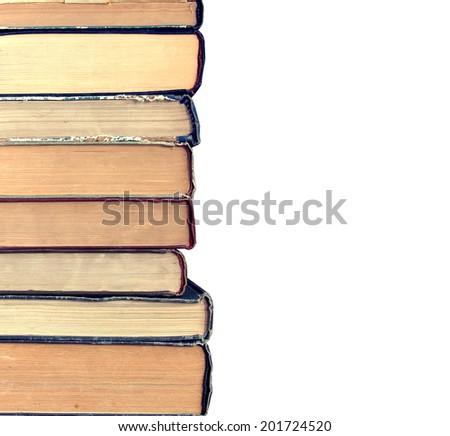 old books isolated on white background - stock photo