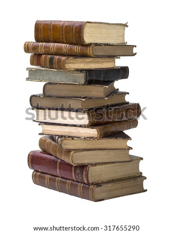 Old books isolated on white background with clipping path