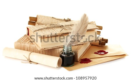 old books, letters and feather pen isolated on white - stock photo