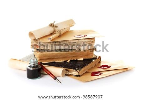 old books, letters and ink pen isolated on white