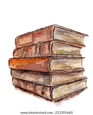 old books on a white background - stock photo