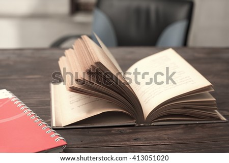Old books on the table - stock photo