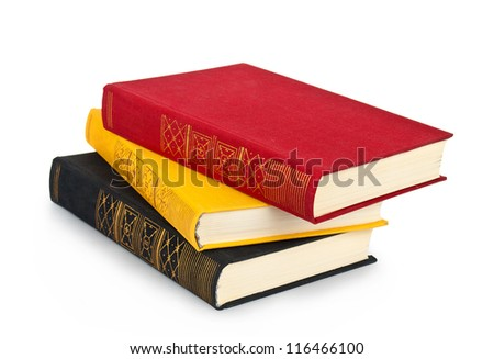 Old books on white background - stock photo