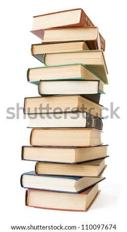 Old books pile isolated on white background
