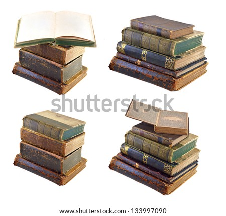 Old books piles set isolated - stock photo