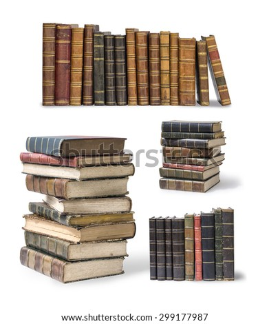 old books set isolated on white