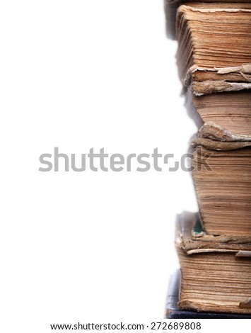 Old books shabby in stack - stock photo