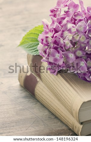Old books with romantic pink flowers on wooden background, vintage editing - stock photo