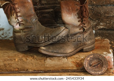 Old boots, old working footwear