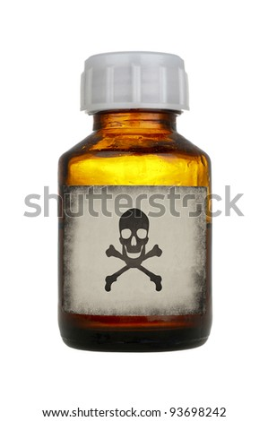 old bottle of poison isolated on white background - stock photo