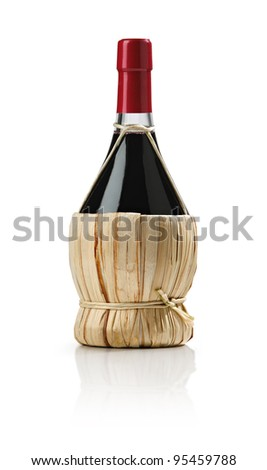 Old bottle of wine, fiasco, on white background - stock photo