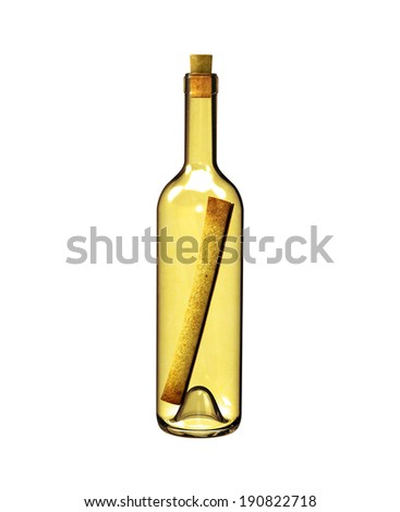 old bottle with a message - stock photo