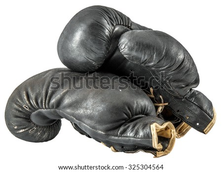 old boxing gloves isolated on a white background - stock photo