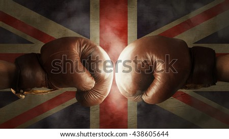 old Boxing Gloves with the Flag of Great Britain - stock photo