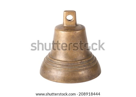 Old brass bell isolated on white background - stock photo