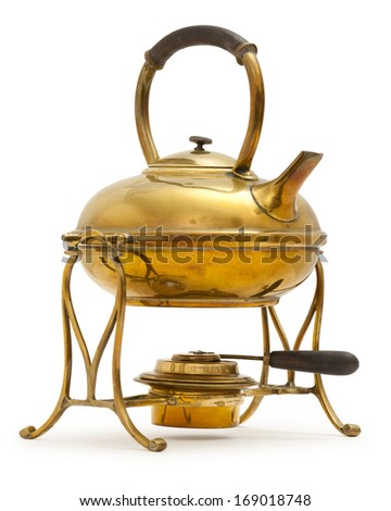 Old brass kettle with methylated spirit burner, on white with a soft shadow. clipping path - stock photo