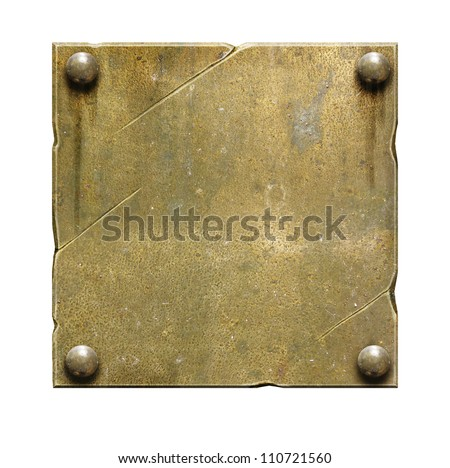 Old brass metal plate with screws and scratches - stock photo