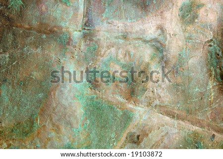 old brass metal texture background with oxidation - stock photo