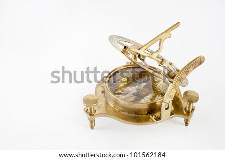 Old brass sextant. Measuring instrument for navigation isolated. - stock photo