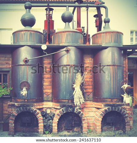 Old brewery. Instagram style filtred image - stock photo