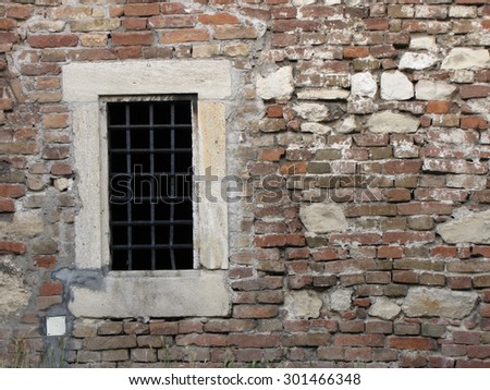 Old brick and stone wall, with window, from fortress Kalemegdan, Belgrade, Serbia - stock photo