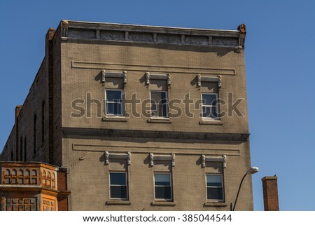 Old brick building in small Midwest town, LaSalle, Illinois. - stock photo