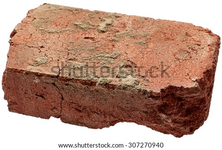 Old brick isolated on white background - stock photo