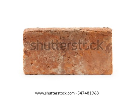 Old Brick Isolated On White Background Building Concept
