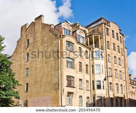 Old brick living house, Saint Petersburg, Russia - stock photo