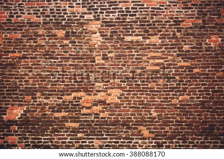 Old brick medieval wall - stock photo