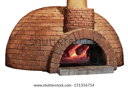 Old brick pizza oven, isolated on a white background. Vintage stove for bread - stock photo