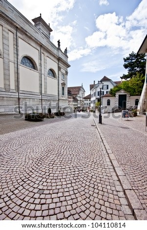 old brick street in Soluthurn old town, Switzerland - stock photo