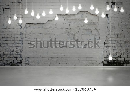 old brick wall and bulbs - stock photo