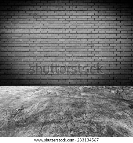 Old brick wall and concrete floor background