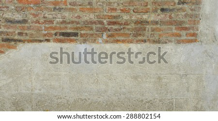 Old brick wall and concrete texture, background of decorate