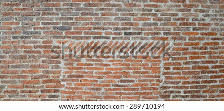 Old brick wall and concrete texture, background of decorate - stock photo