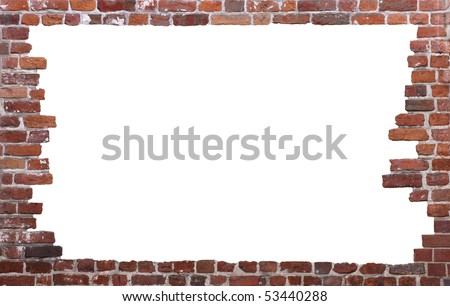 Old brick wall as a grungy frame, isolated on white background in the centre 02 - stock photo