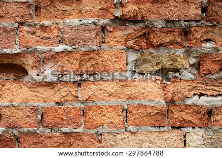 Old brick wall close up