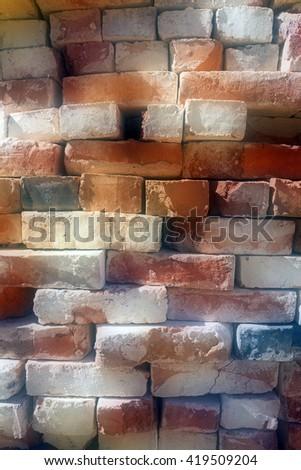 Old brick wall , Defocus - stock photo