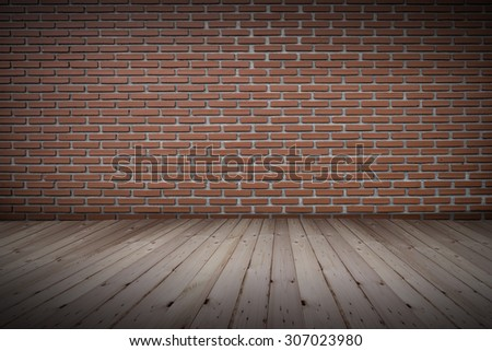 old brick wall on wood, vintage background - stock photo