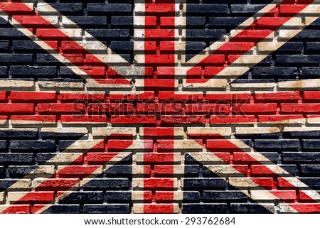 Old brick wall paint color copy British flag for texture background and black drop. - stock photo