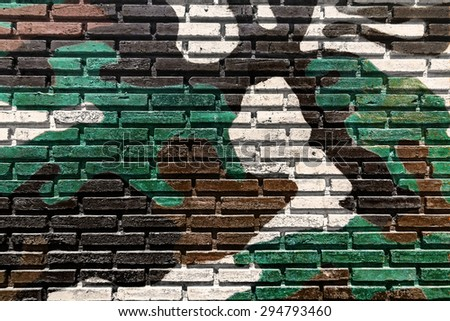 Old brick wall paint color  for texture background and black drop. - stock photo