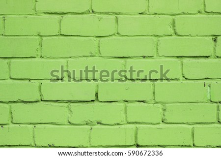 Old Brick Wall Painted In Green Color Abstract Texture Horizontal Greenery Wallpaper Background