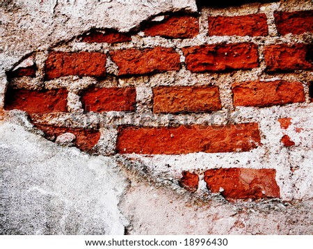 old brick wall, stucco was peel off - stock photo