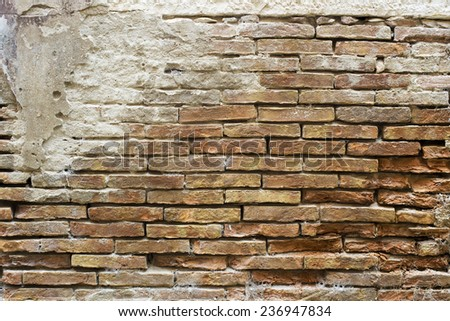 Old brick wall texture background close up