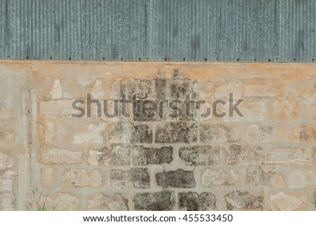 old brick wall with cement wall texture.
