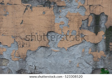 Old brick wall with damaged plaster. Design element texture for web banner.
