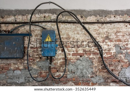 old brick wall electric wires control stock photo royalty free rh shutterstock com Wall Electrical Wiring Wall Electrical Wiring