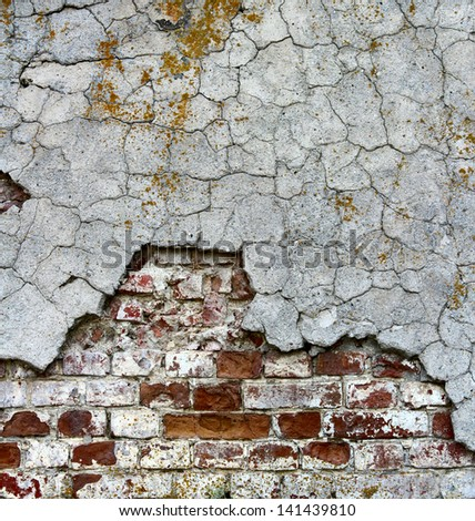 old brickwall covered cement cracked stucco background - stock photo