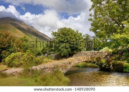 Old bridge at Wasdale Head, Cumbria, England - stock photo